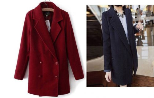 Women Boyfriend Style Coat Turndown Collar Jacket Casual Classic coat S/M/L/XL